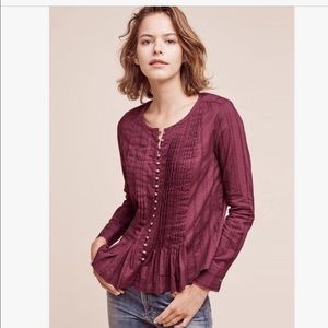 Anthro Maeve Burgundy Blouse Gold Buttons